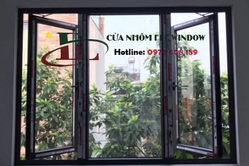 Cửa sổ 3 cánh mở dọc lắp nhôm Xingfa tem đỏ